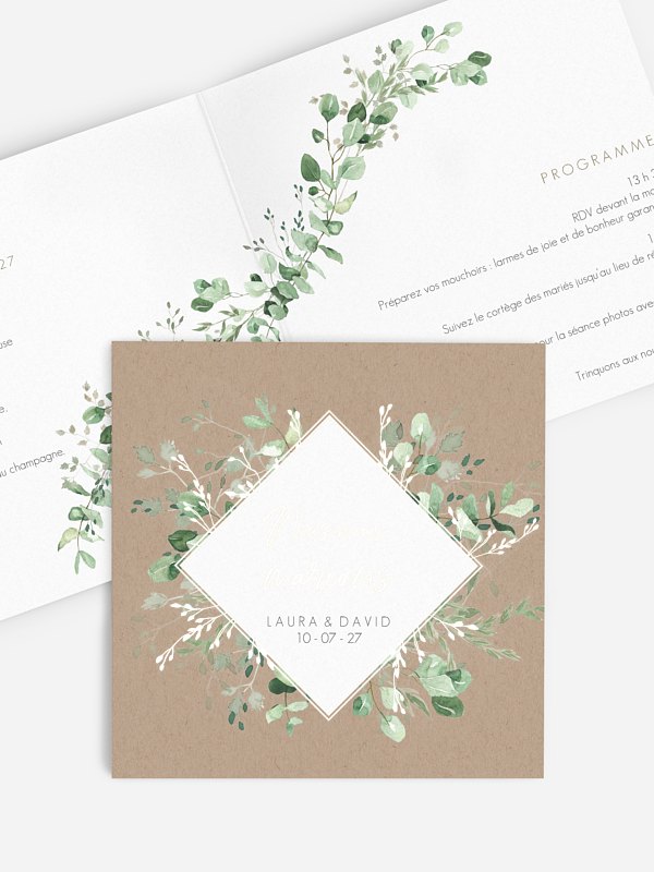 Faire-part de mariage Gold, green and kraft