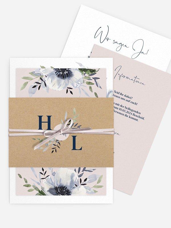 Hochzeitseinladung Blue Anemone