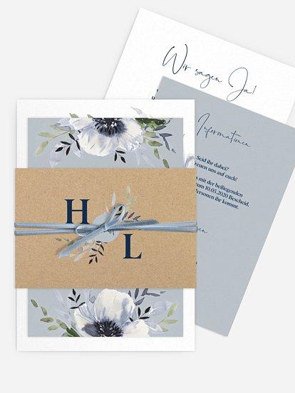 """Hochzeitseinladung """"Blue Anemone"""""""