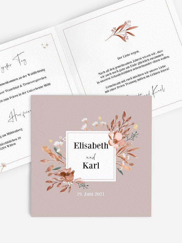 Hochzeitseinladung Rusty Flowers