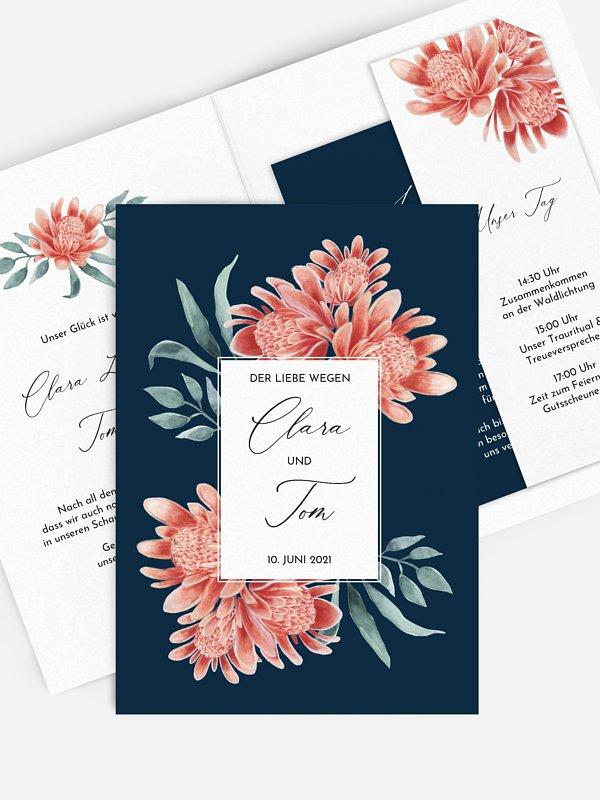Hochzeitseinladung Red Flowers