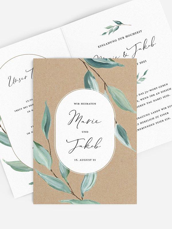 Hochzeitseinladung Green Leaves