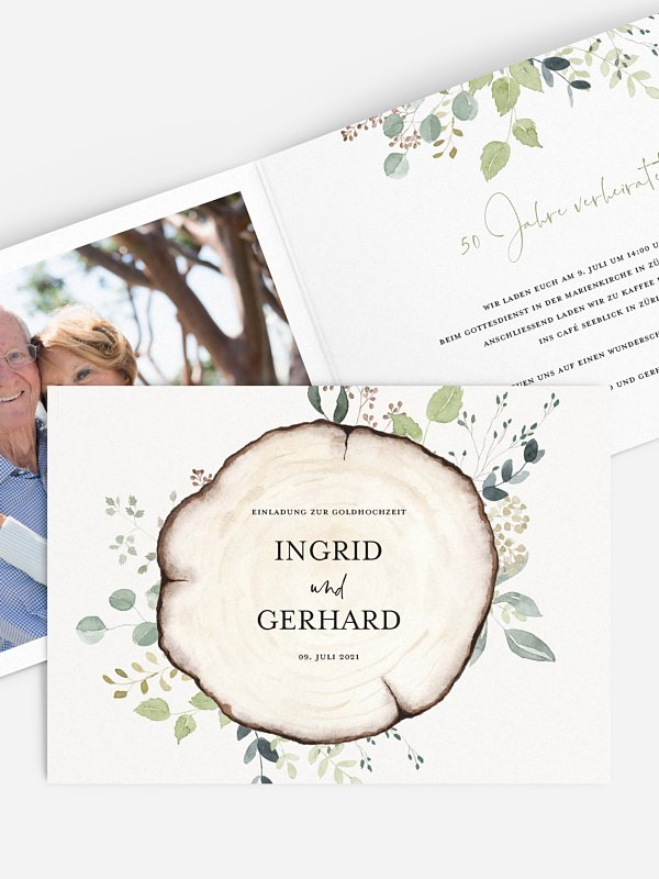 Einladung zur Goldenen Hochzeit Waldliebe