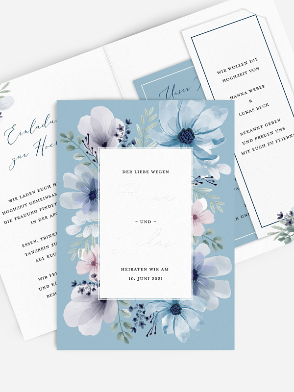 Hochzeitseinladung Blue Love