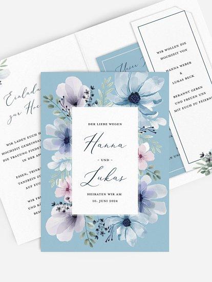 """Hochzeitseinladung """"Blue Love"""""""