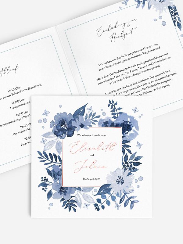 Hochzeitseinladung Blue Garden