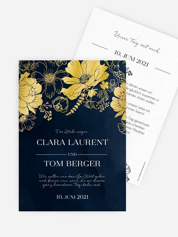 Hochzeitseinladung Zarte Blüten