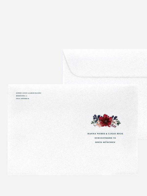 Bedruckter Briefumschlag Hochzeit Bouquet Frame