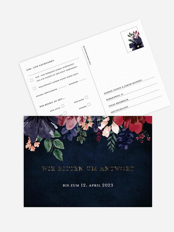 Antwortkarte Hochzeit Bouquet Frame