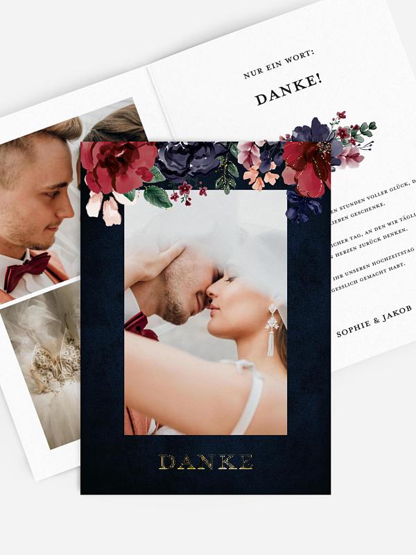 Dankeskarte Hochzeit Bouquet Frame