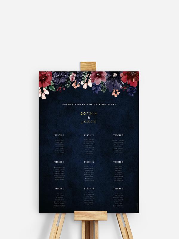 Sitzplan Plakat Bouquet Frame