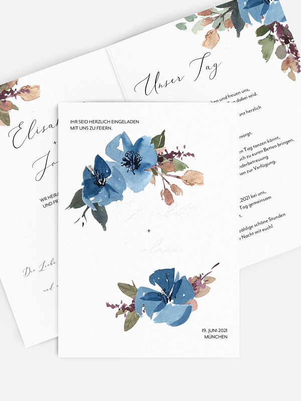 Hochzeitseinladung Blue Flowers