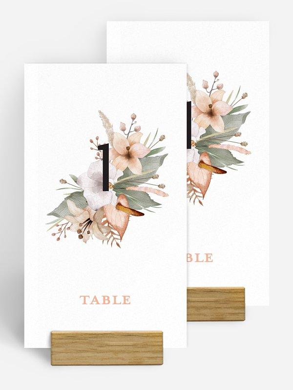 Numéro de table mariage Idylle florale