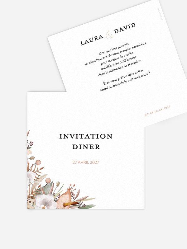 Carton d'invitation Idylle florale