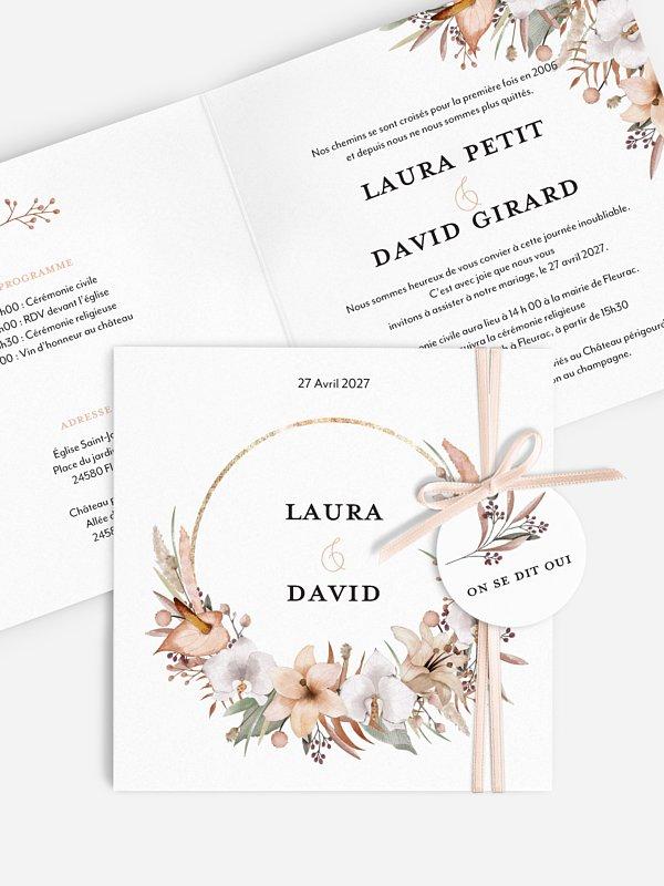 Faire-part de mariage Idylle florale
