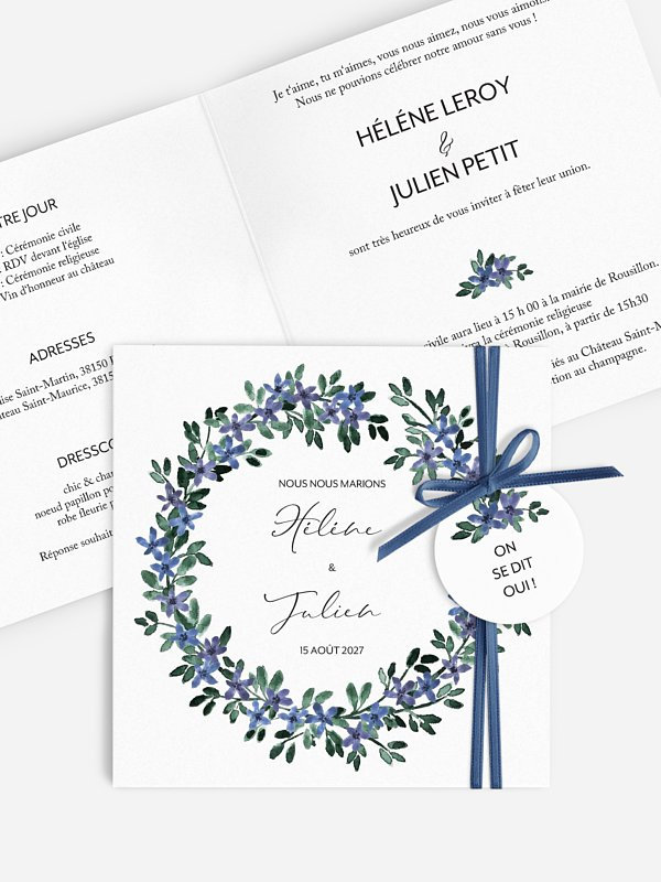 Faire-part de mariage Ronde de bleuets