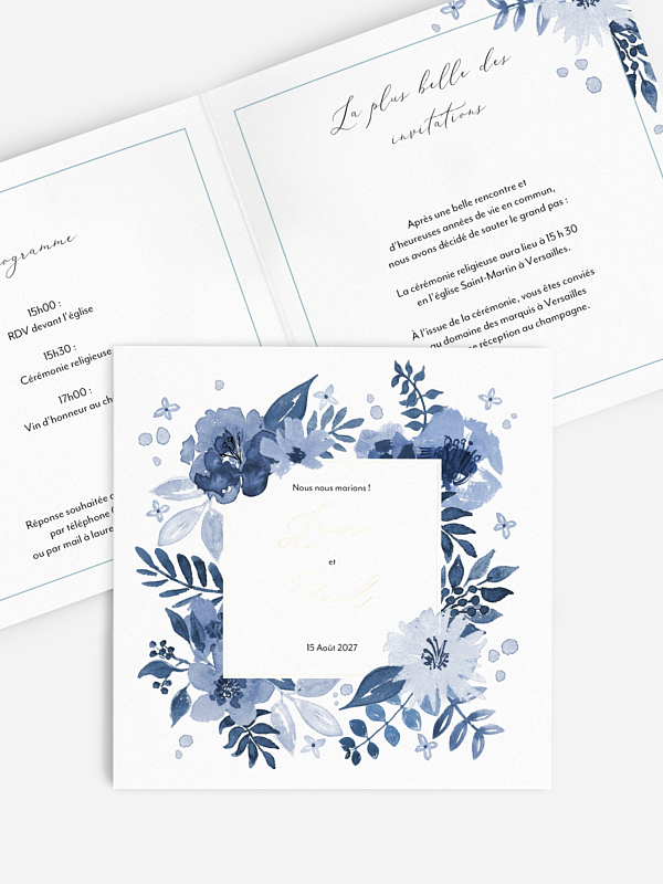 Faire-part de mariage Blue Garden