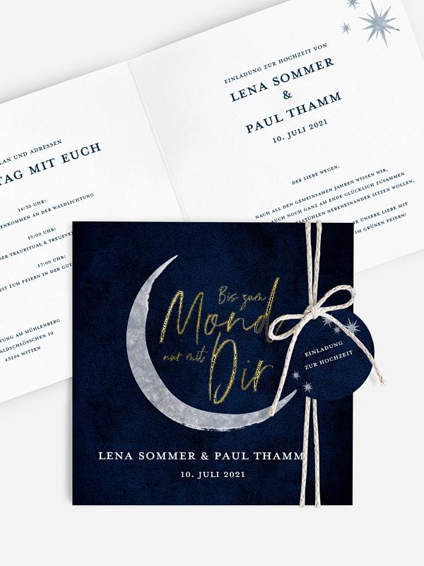Hochzeitseinladung To The Moon