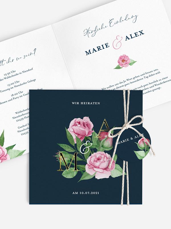 Hochzeitseinladung Blooming Rose