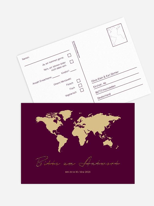Antwortkarte Hochzeit Reisepass