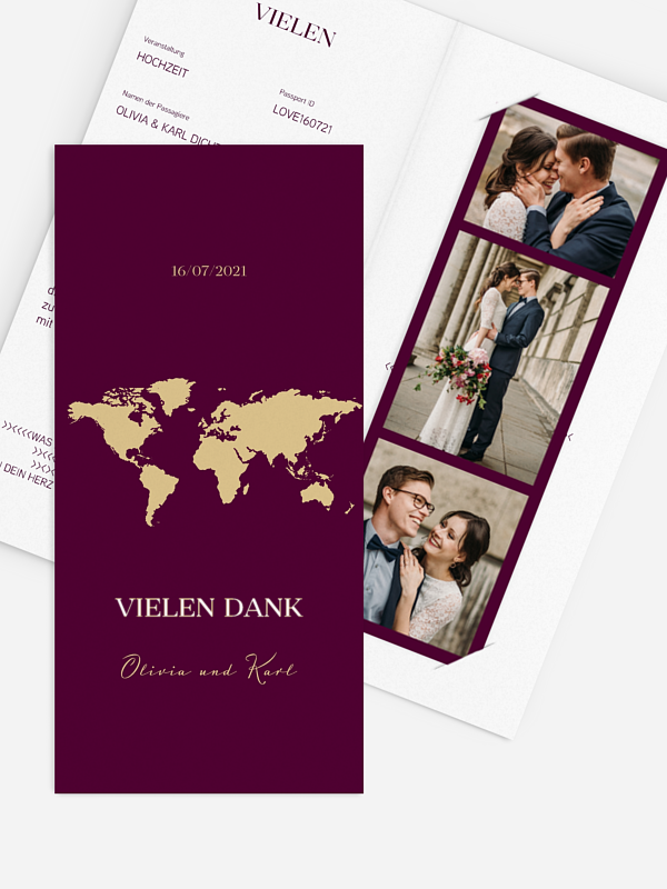 Dankeskarte Hochzeit Reisepass