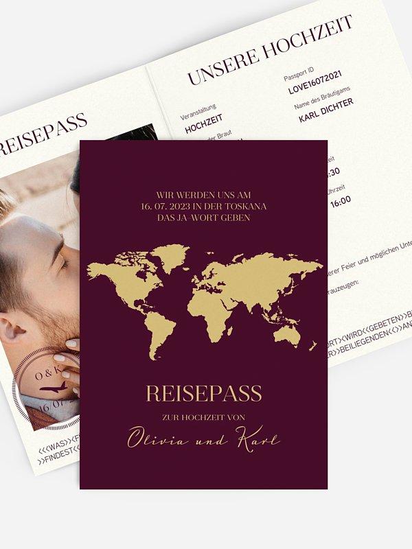 Hochzeitseinladung Reisepass
