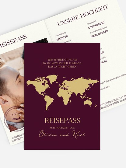 """Hochzeitseinladung """"Reisepass"""""""