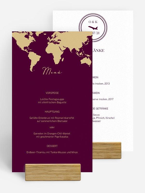 Menükarte Hochzeit Reisepass