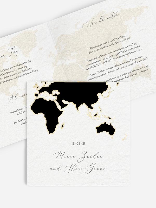 Hochzeitseinladung Weltreise