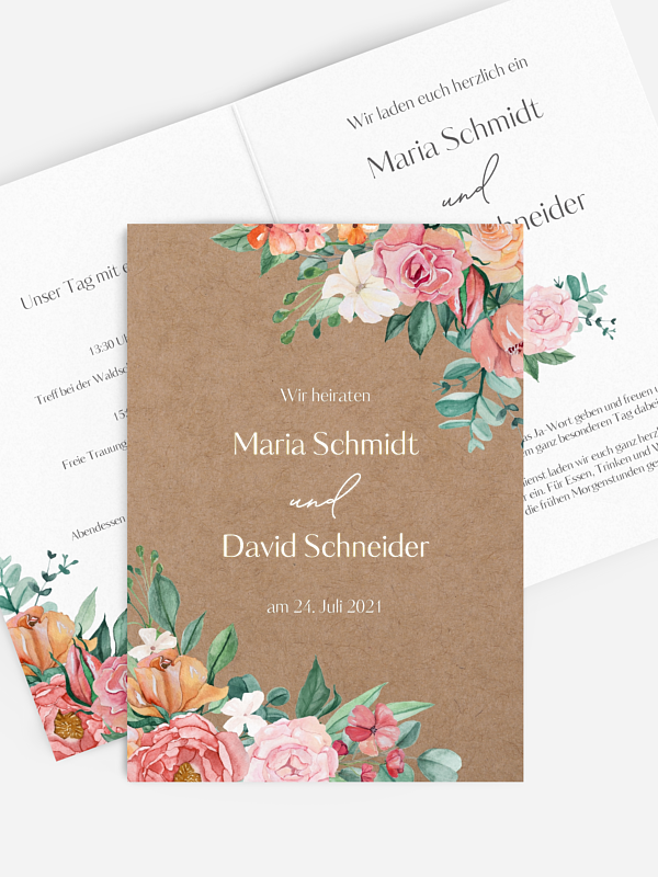 Hochzeitseinladung Colorful Flowers