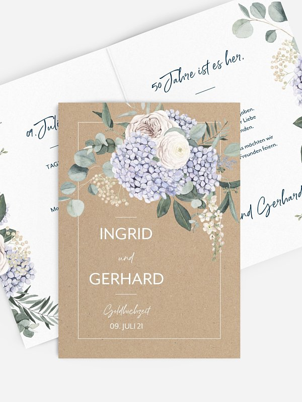 Einladung zur Goldenen Hochzeit Hortensie