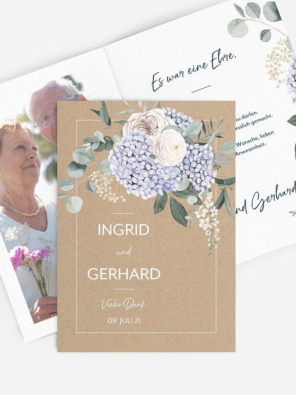 Danksagung zur Goldenen Hochzeit Hortensie