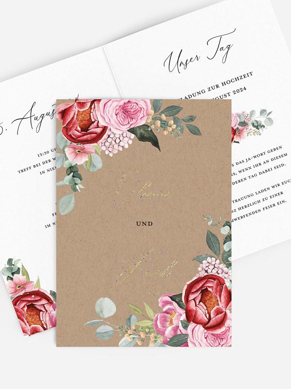 Hochzeitseinladung Pink Flowers