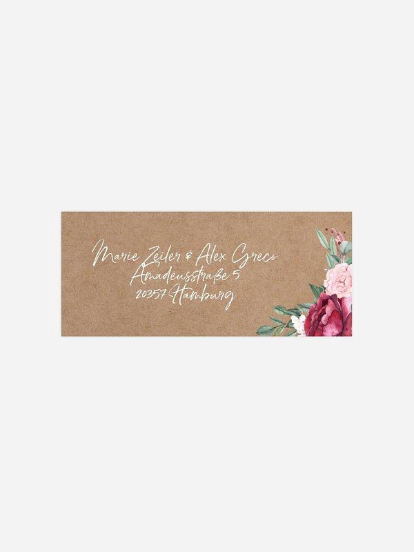 Absenderaufkleber Hochzeit Rose Bouquet