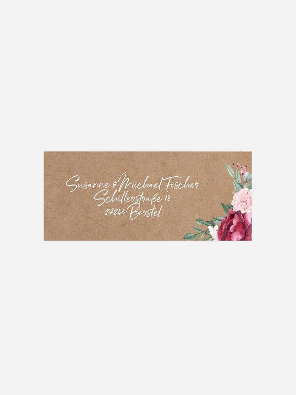 Absenderaufkleber Silberhochzeit Rose Bouquet