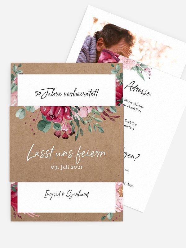 Einladung zur Goldenen Hochzeit Rose Bouquet