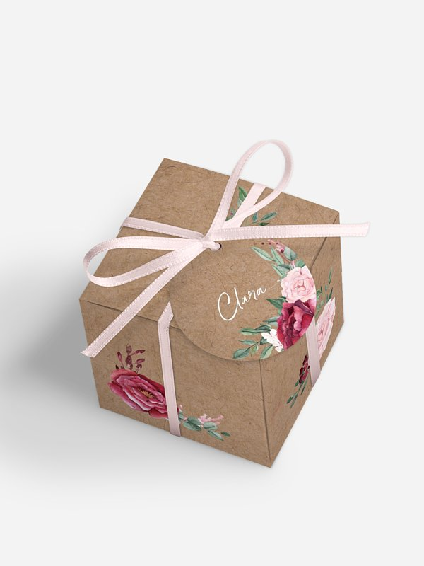 Gastgeschenkbox personalisiert Rose Bouquet