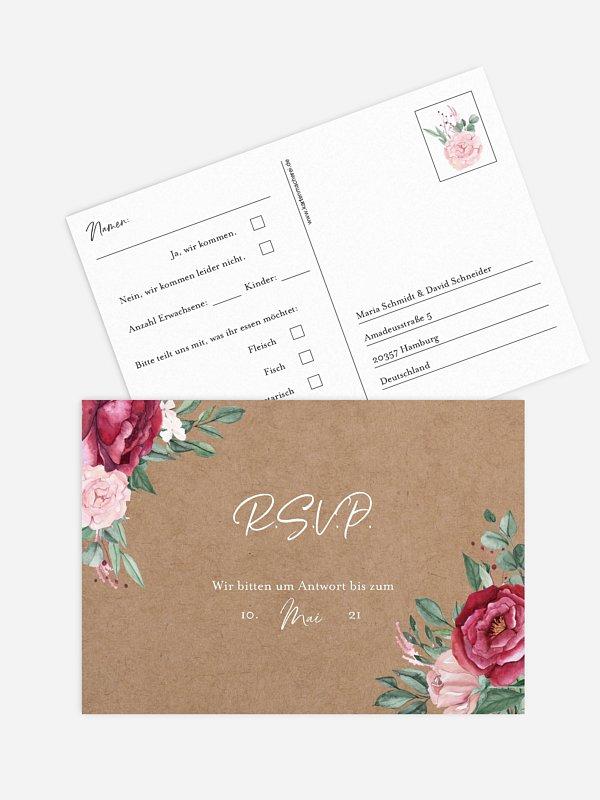 Antwortkarte Hochzeit Rose Bouquet