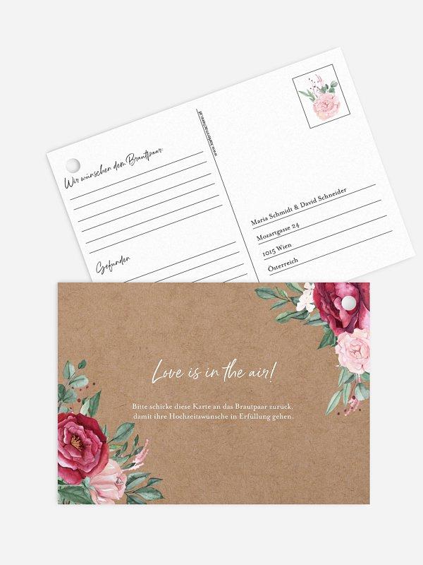 Ballonkarte Hochzeit Rose Bouquet