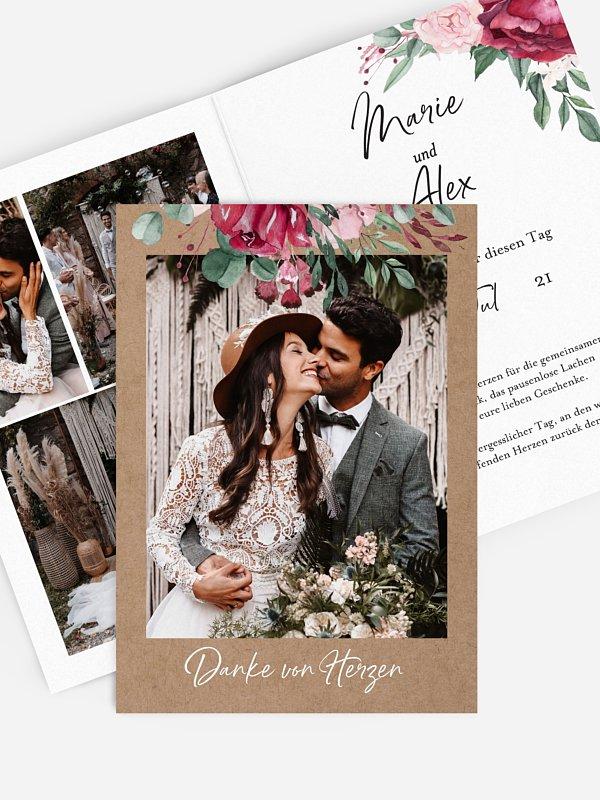 Dankeskarte Hochzeit Rose Bouquet