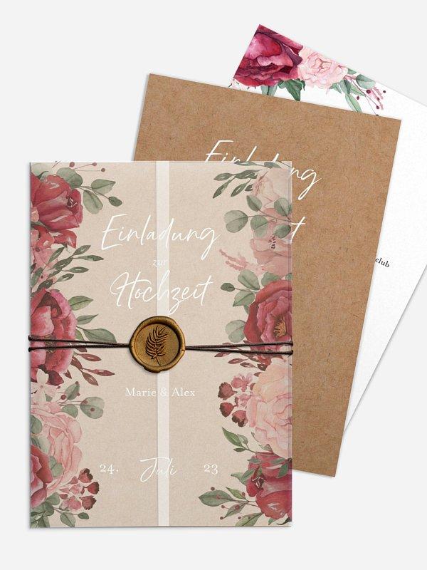 Hochzeitseinladung Rose Bouquet