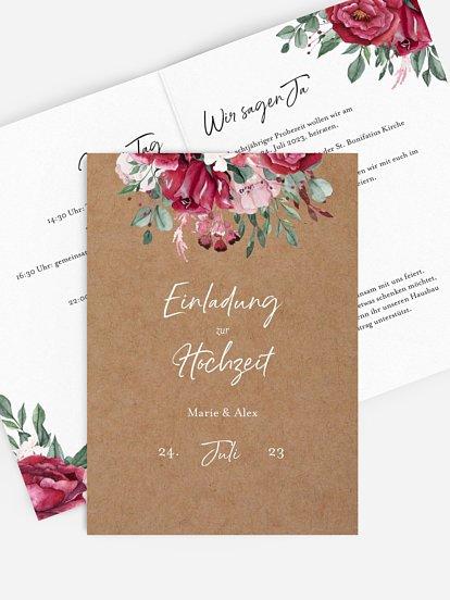 """Hochzeitseinladung """"Rose Bouquet"""""""