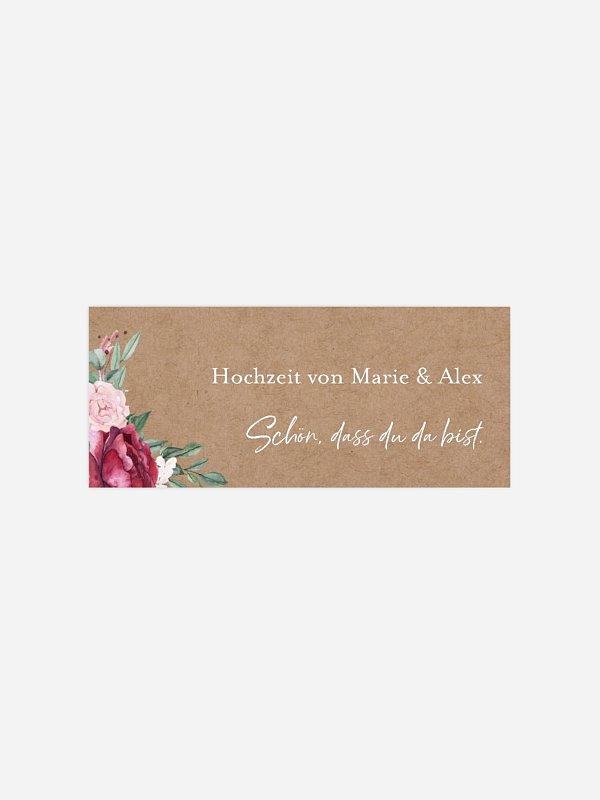 Geschenkaufkleber Hochzeit Rose Bouquet
