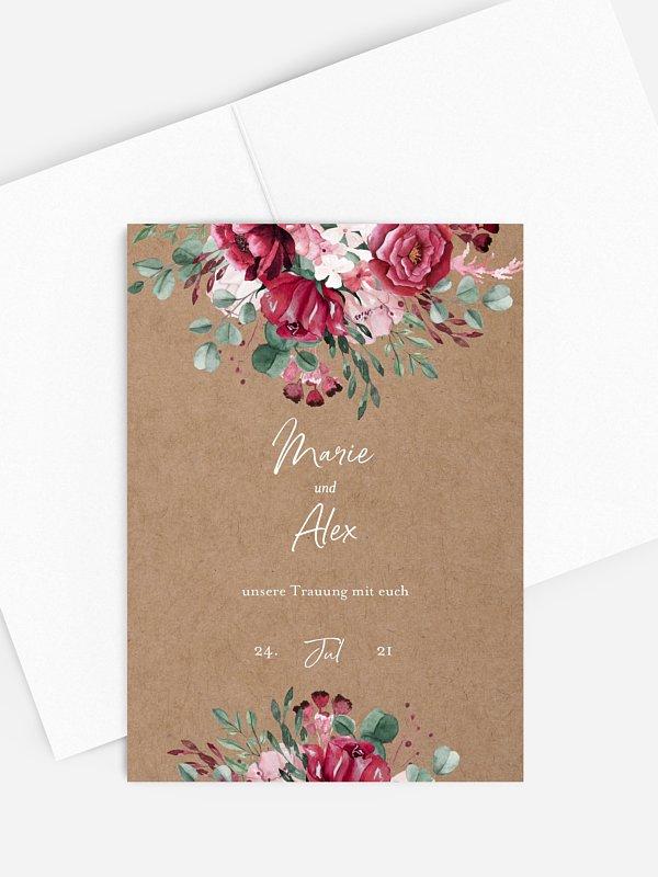 Kirchenheft Hochzeit Rose Bouquet