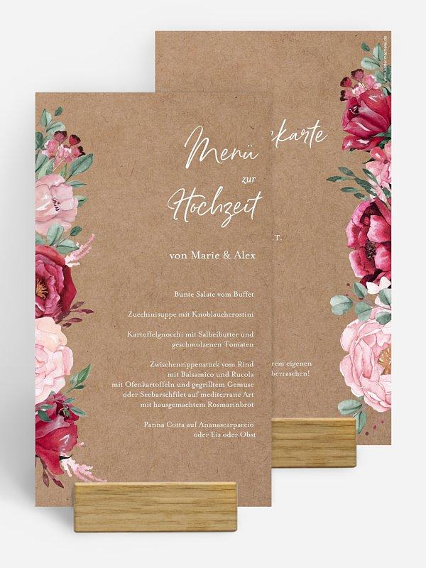 Menükarte Hochzeit Rose Bouquet