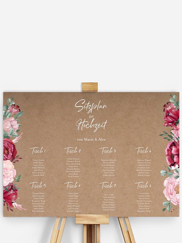 Sitzplan Plakat Rose Bouquet