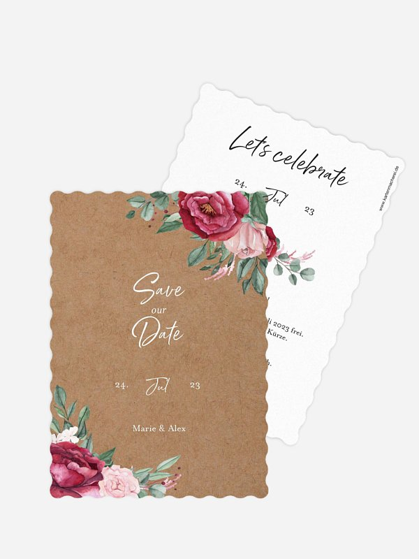 Save-the-Date Karte Rose Bouquet