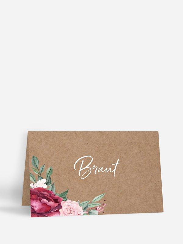 Tischkarte Hochzeit Rose Bouquet