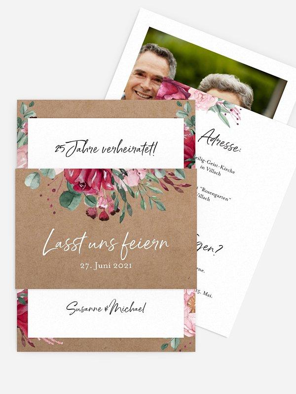 Einladung zur Silberhochzeit Rose Bouquet