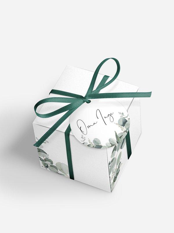 Gastgeschenkbox personalisiert Eucalyptus Love